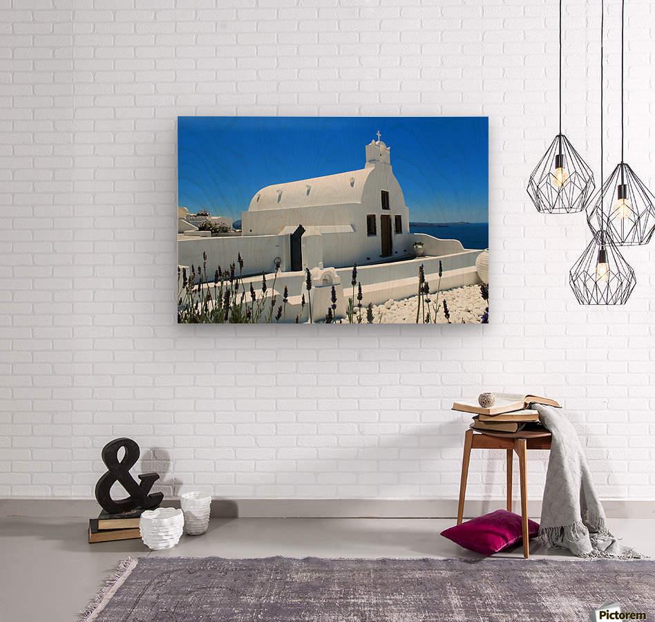 Small White Church in Santorini - Greece  Wood print