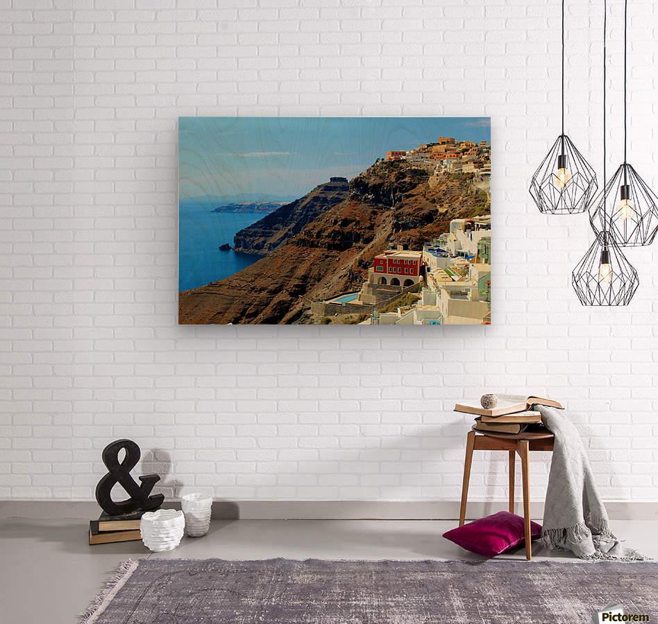 Santorini Mountains Landscape - Greece  Wood print