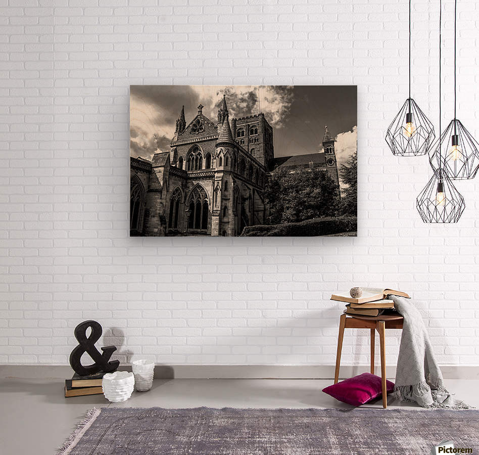 Cathedral   - Black and White image  Wood print