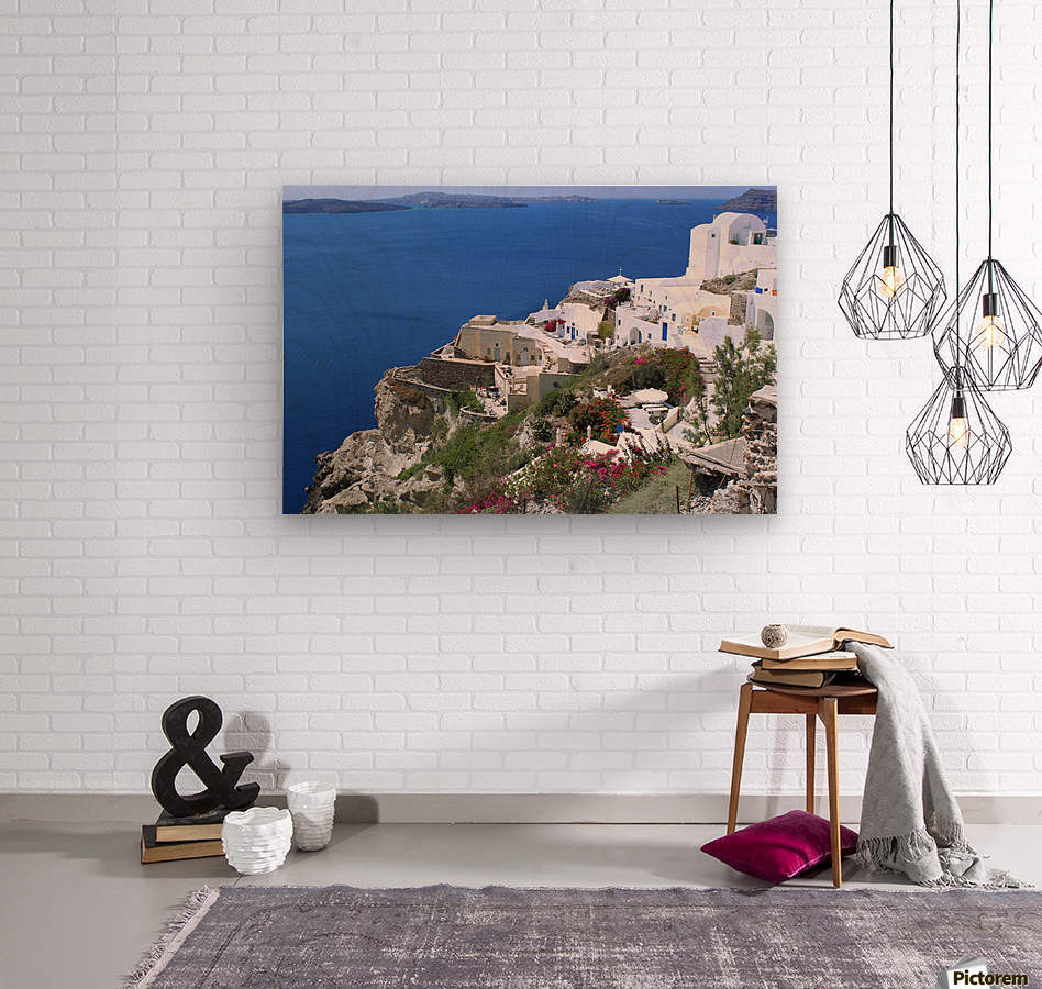 Colourful Santorini Landscape   Wood print