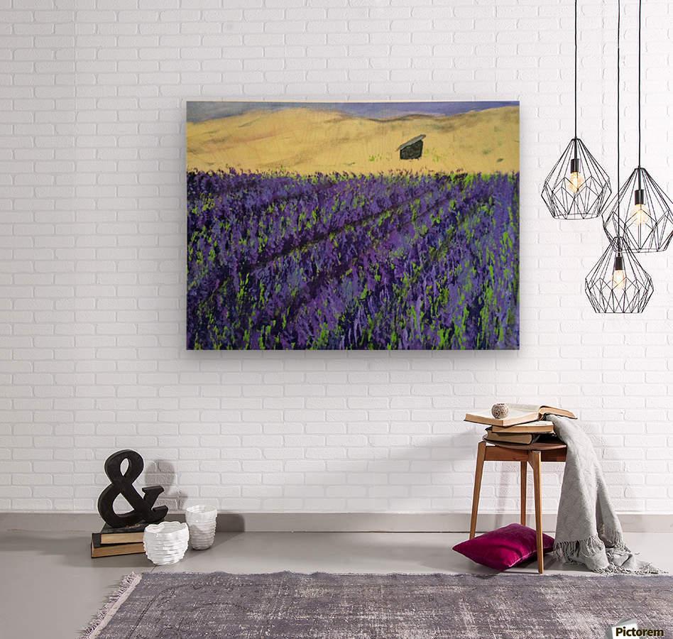 Purple Lavender fields painting  Wood print