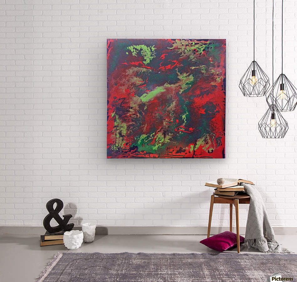 Red and Green Abstract  Wood print