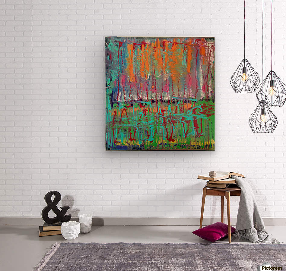 Three Ring Circus a Colorful Abstract Painting  Wood print