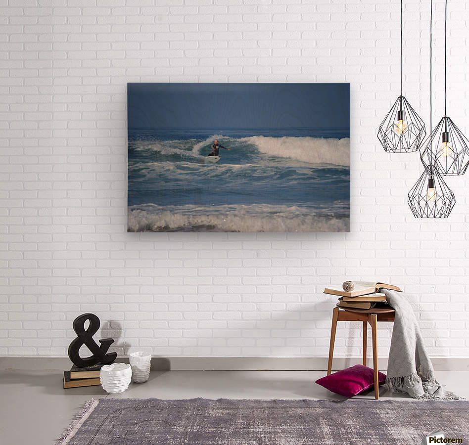 The Lone Surfer  Wood print