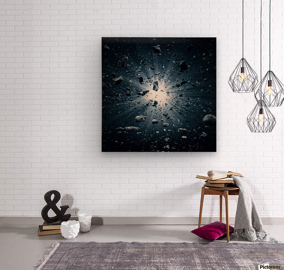 Big Bang explosion in space  Wood print