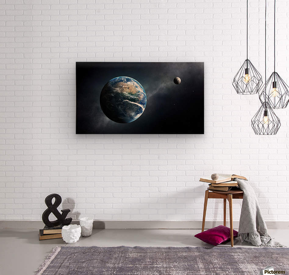 Earth and moon space view  Wood print