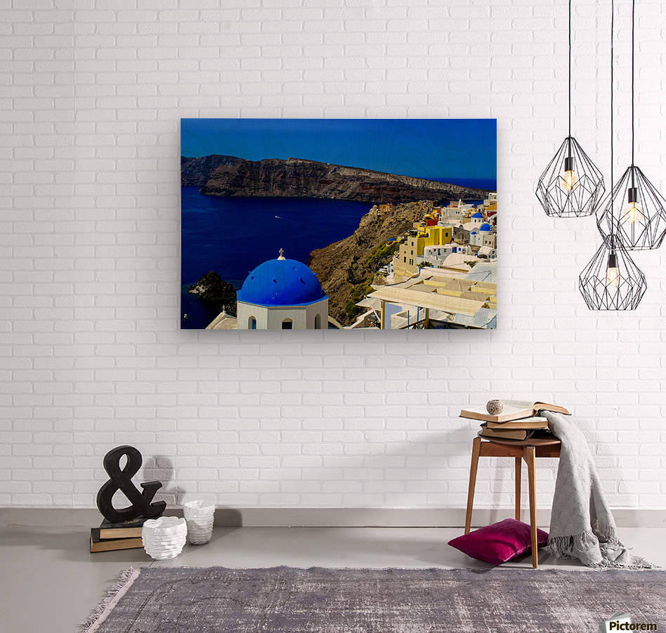 Santorini  - Super Colorful Landscape  Wood print