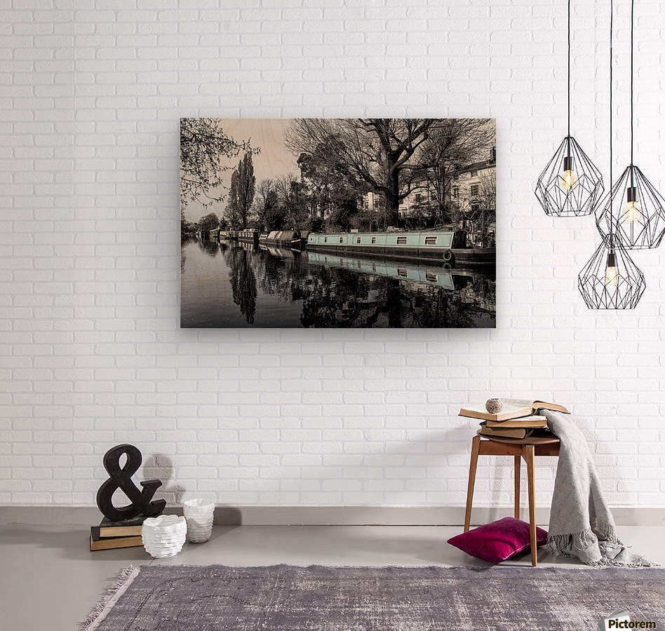 River and boats  Wood print