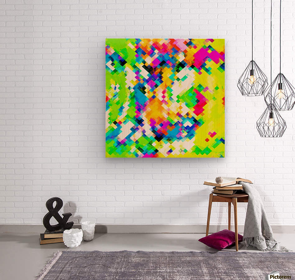 psychedelic geometric pixel abstract pattern in yellow blue green pink  Wood print