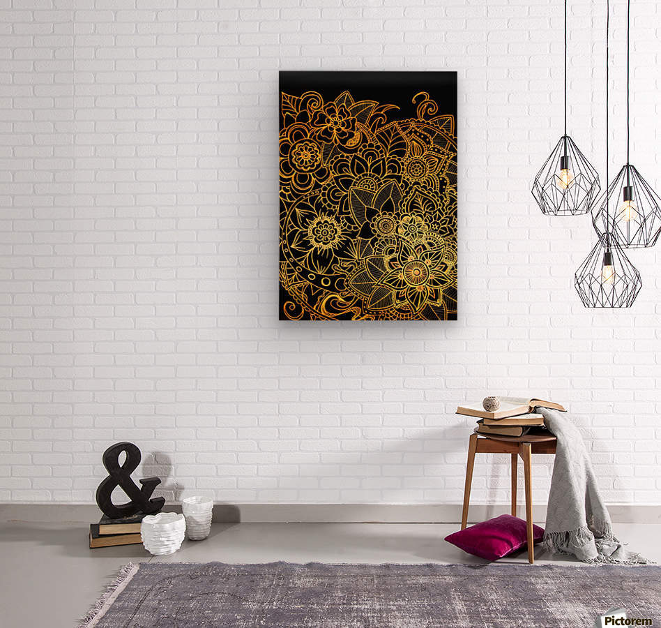 Floral Doodle Gold G523  Wood print