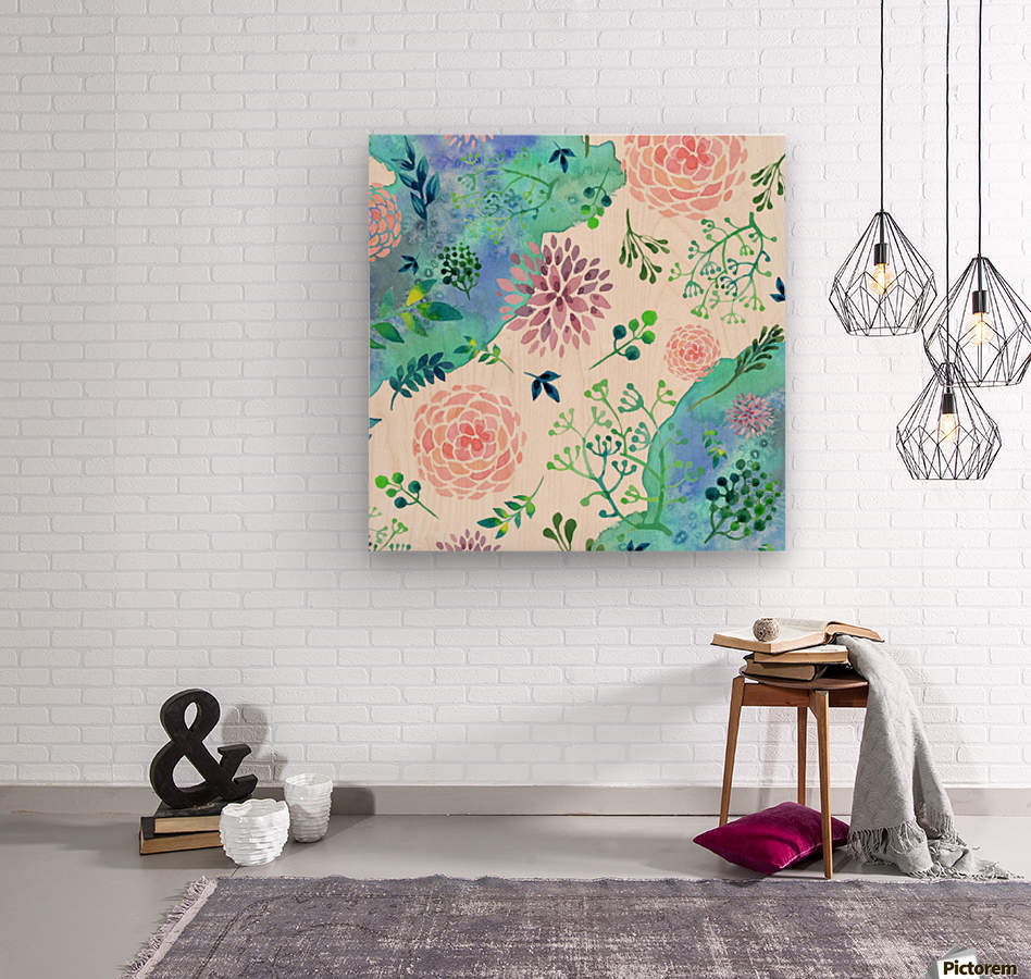 flower and blue agate  Wood print