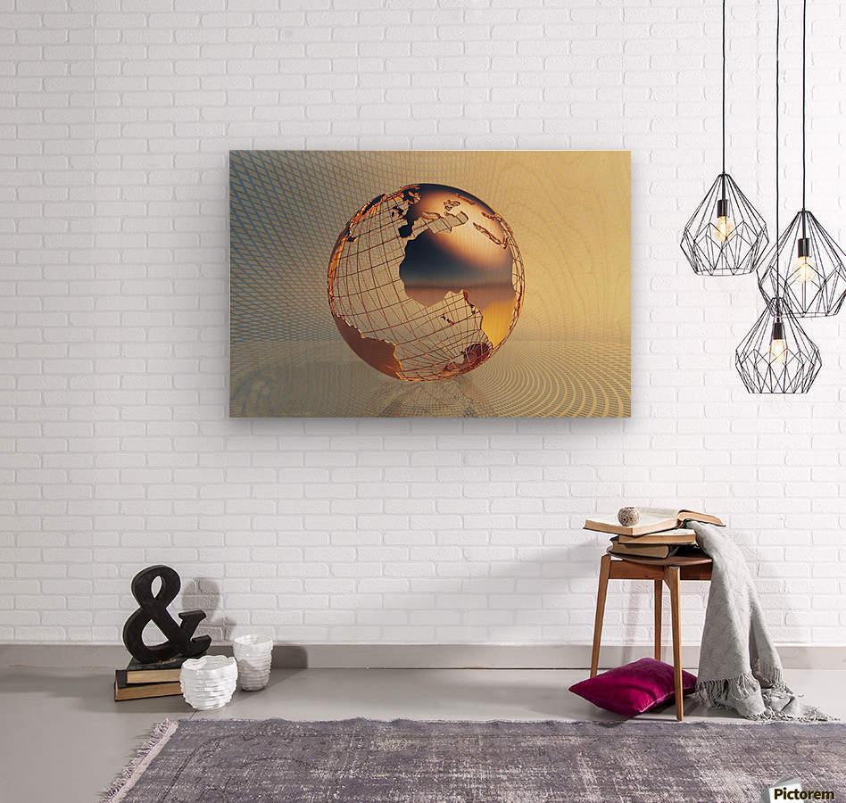 World global business background  Wood print
