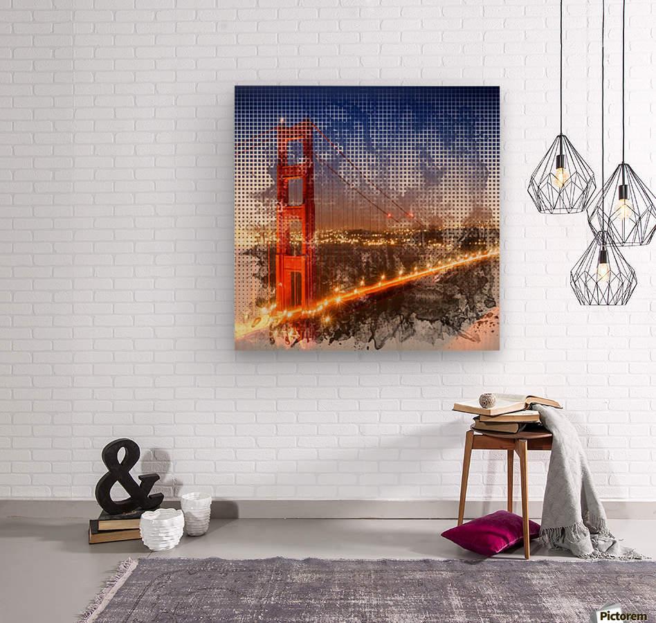Graphic Art Golden Gate Bridge   watercolour style  Wood print