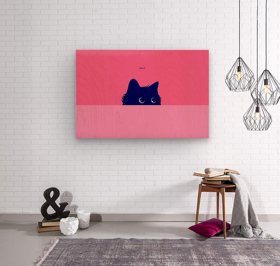 Cat on Deep Pink  Wood print