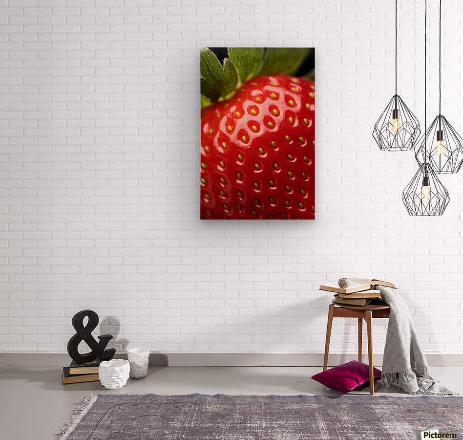 Fresh strawberry close-up  Wood print