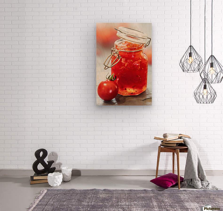 Tomato Jam in Glass Jar  Wood print