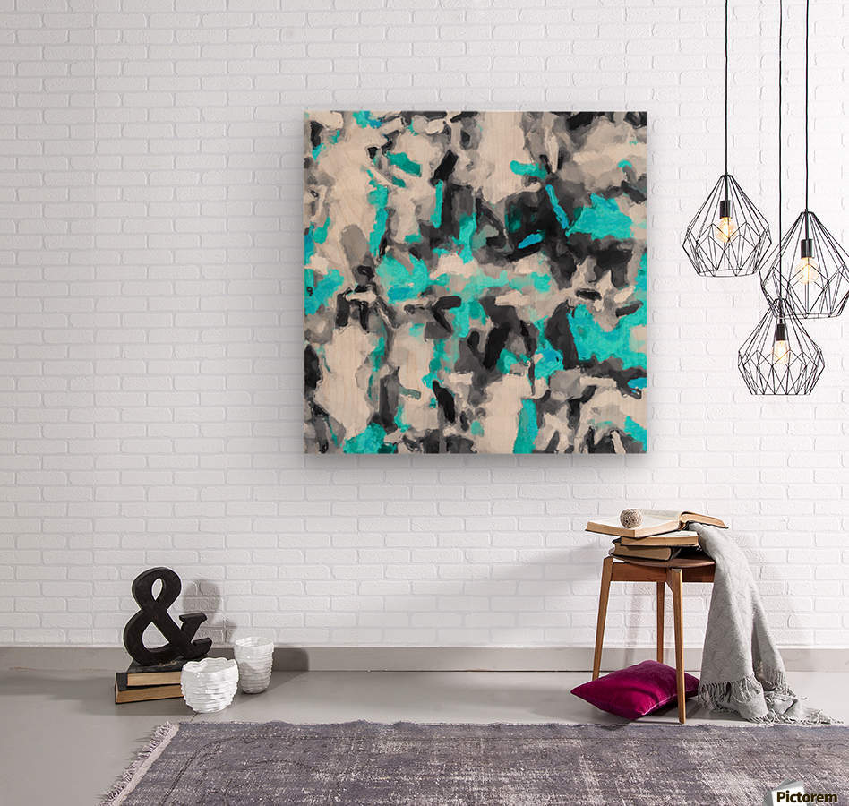 splash painting texture abstract background in blue and black  Wood print