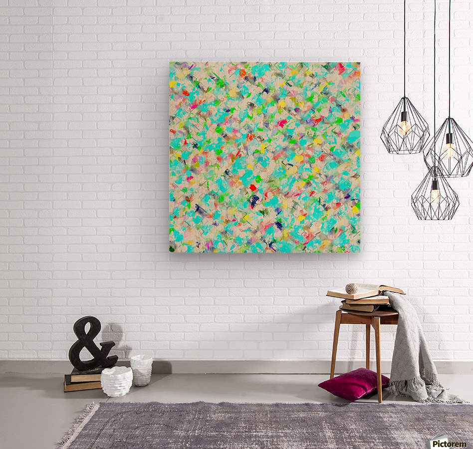 splash painting texture abstract background in blue yellow green red pink  Wood print