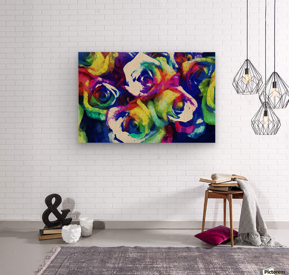 Love Me With Roses  Wood print