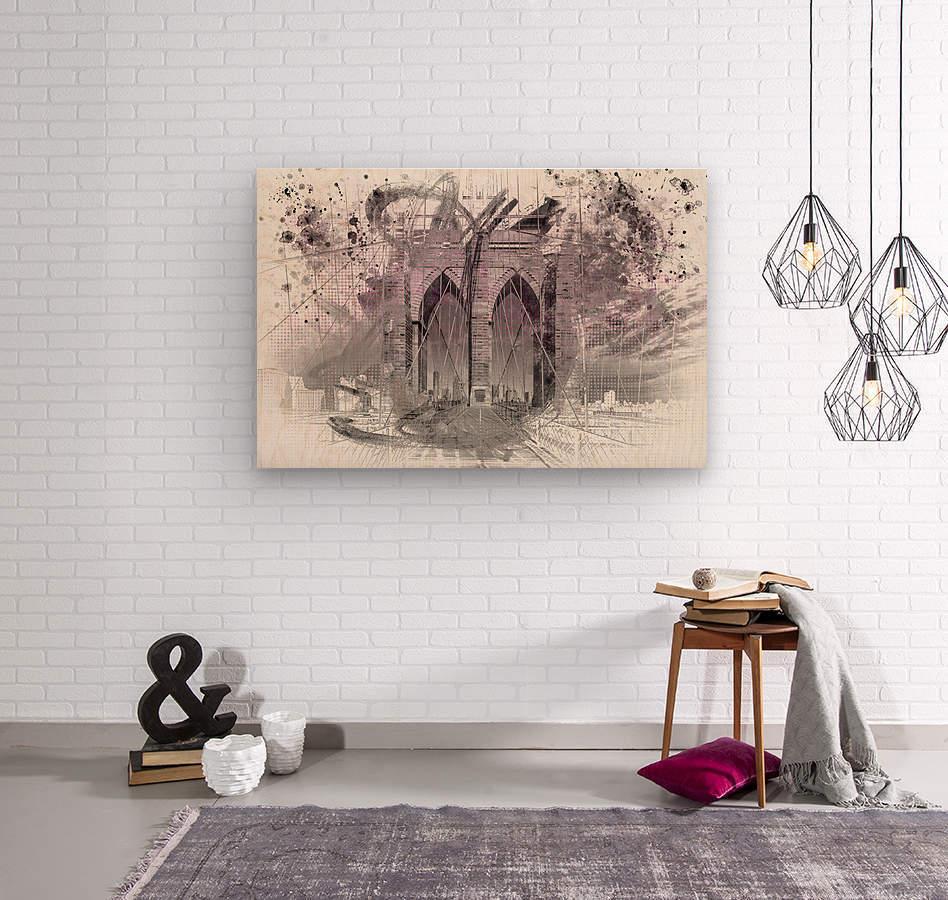 City Art Brooklyn Bridge in Detail     Wood print