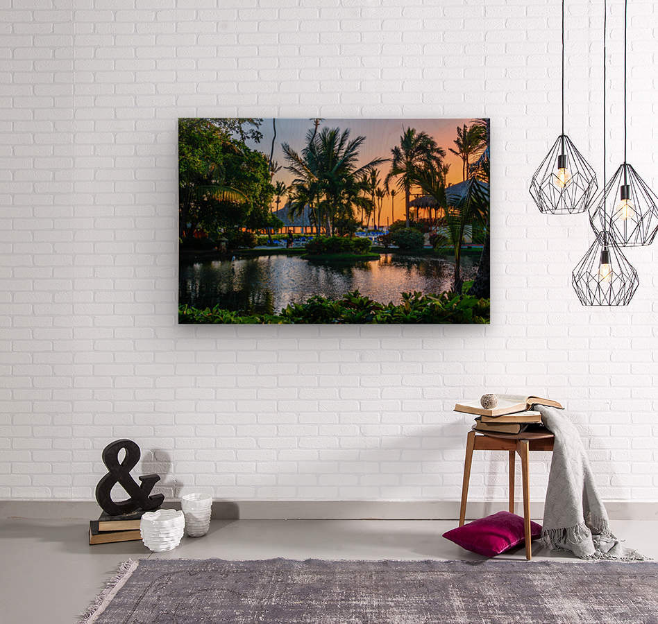 Multicolored tropical dawn with pond and palm trees, white pelican  Wood print