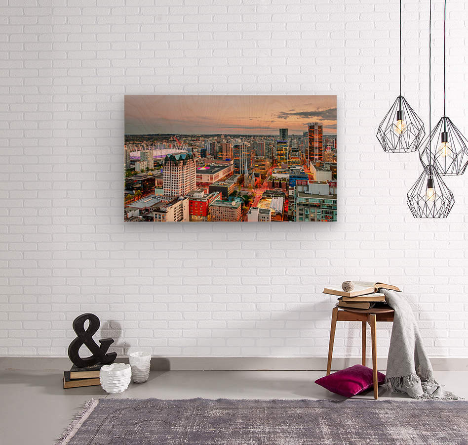 View from above the beautiful twilight in megalopolis  Wood print