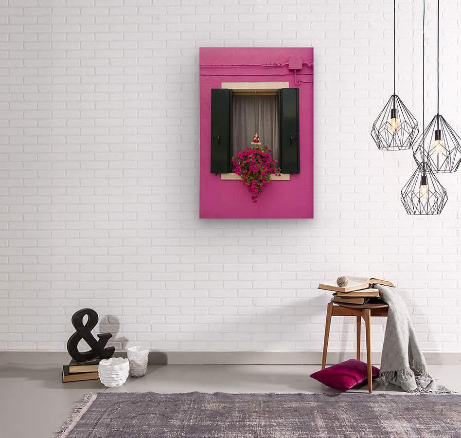 Colored window in Burano  Wood print