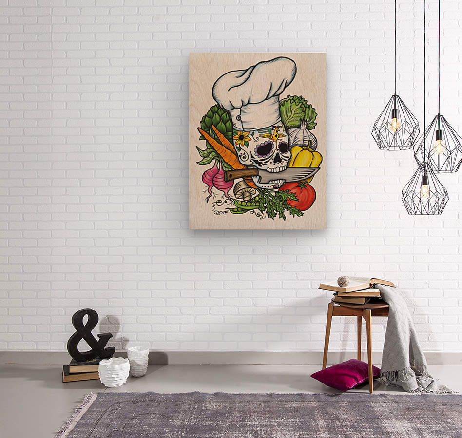 Dia de los Muertos Chef  Wood print