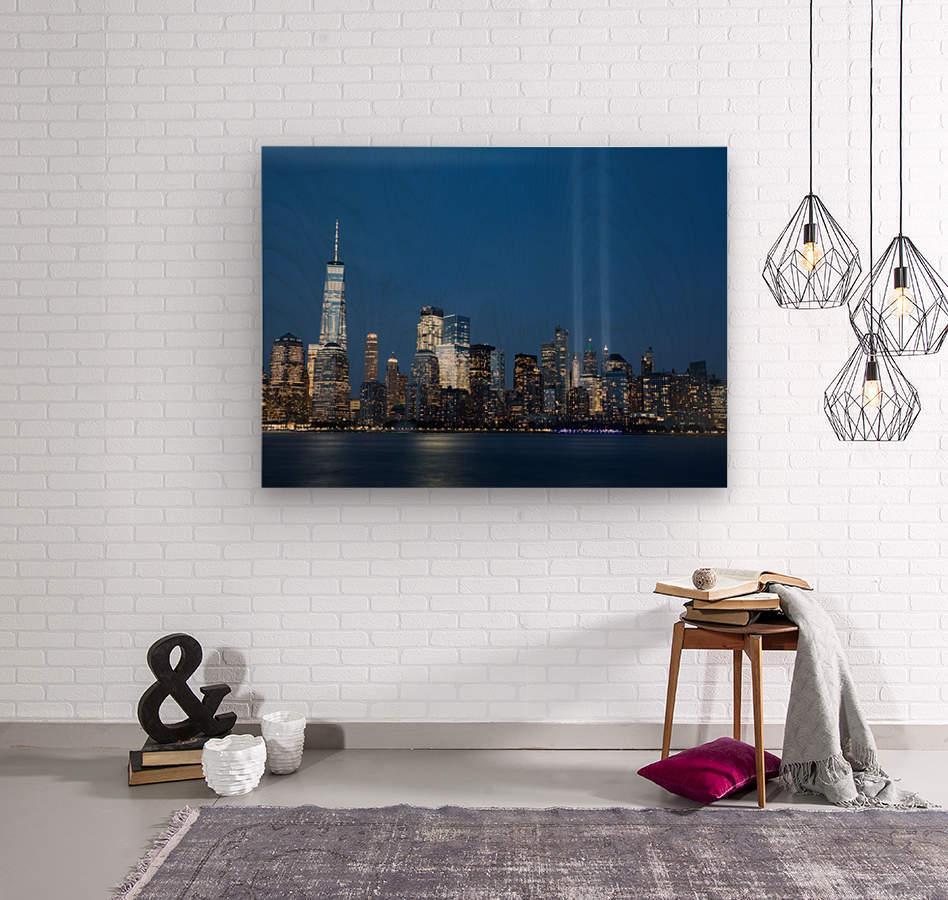 911 Memorial Lights NYC skyline  Wood print
