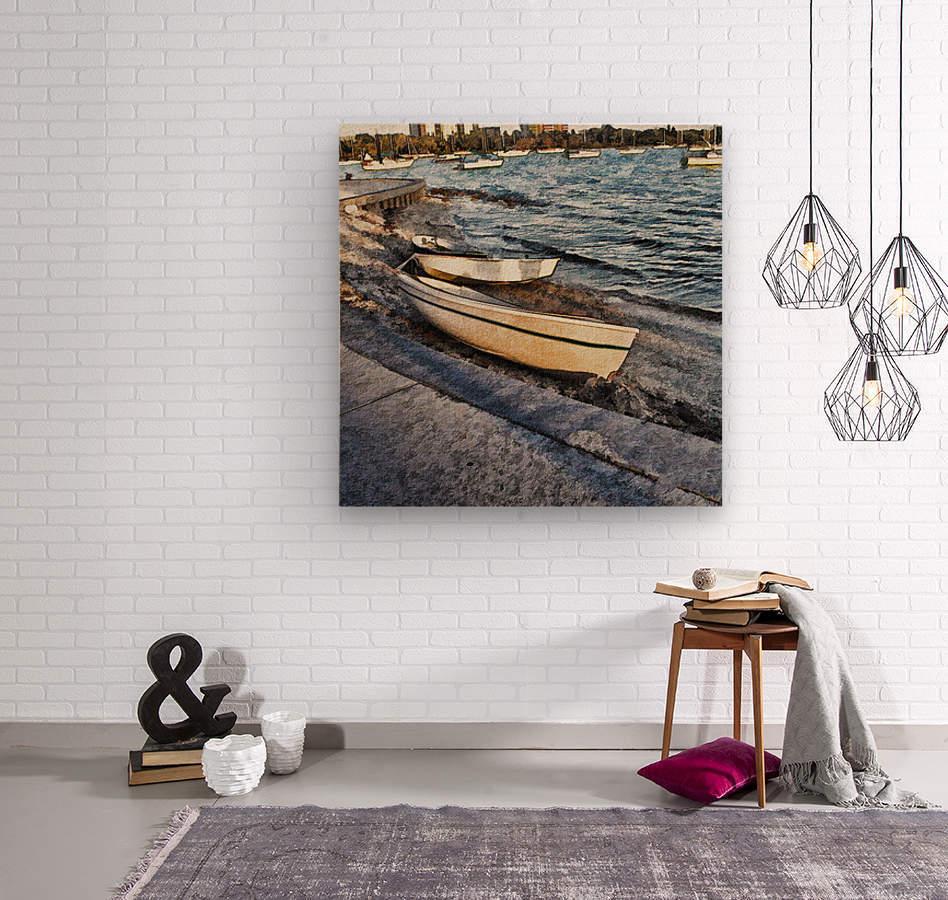 Boats At The Bay  Wood print
