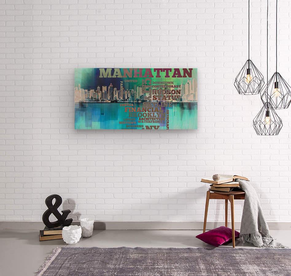 Manhattan harbor  Wood print