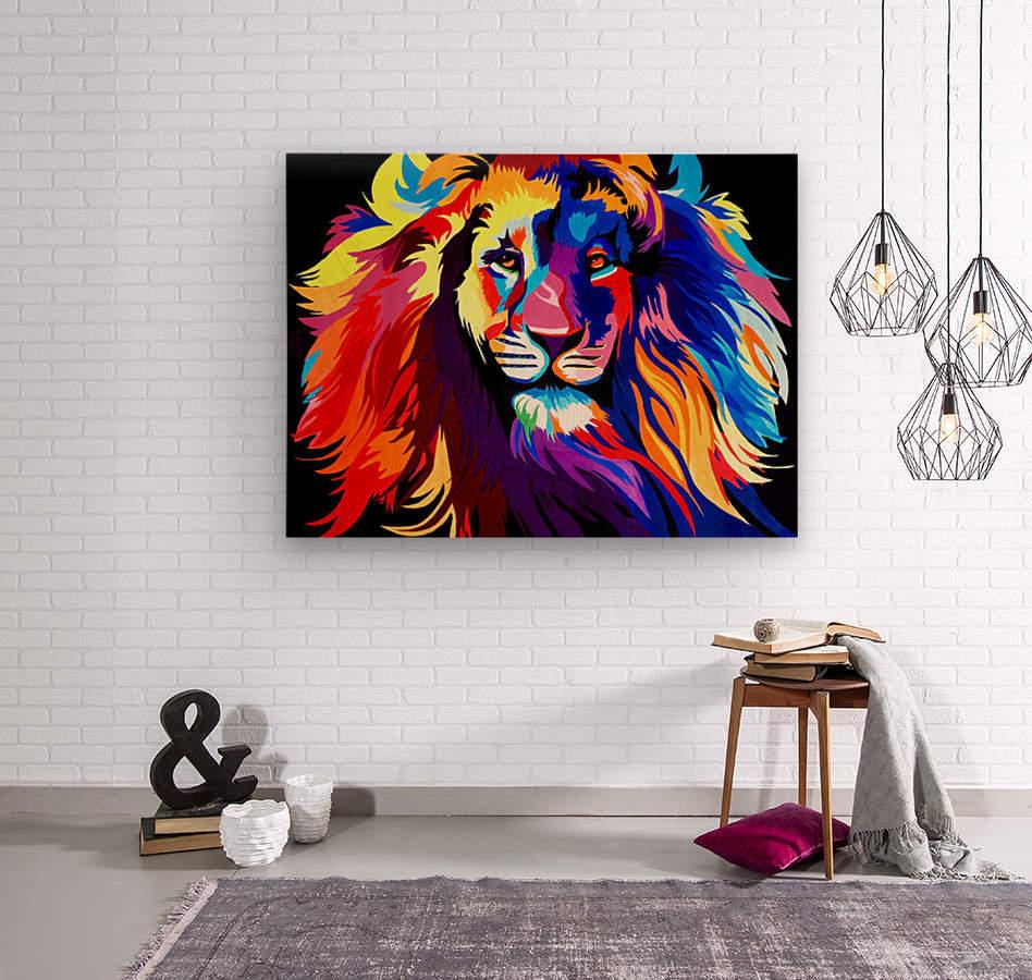 Lion Rainbow  Wood print