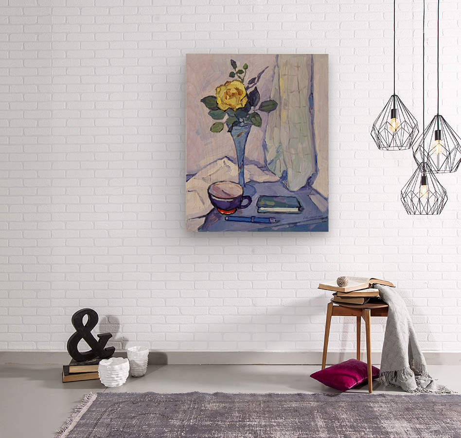 Still Life with Yellow Rose  Wood print