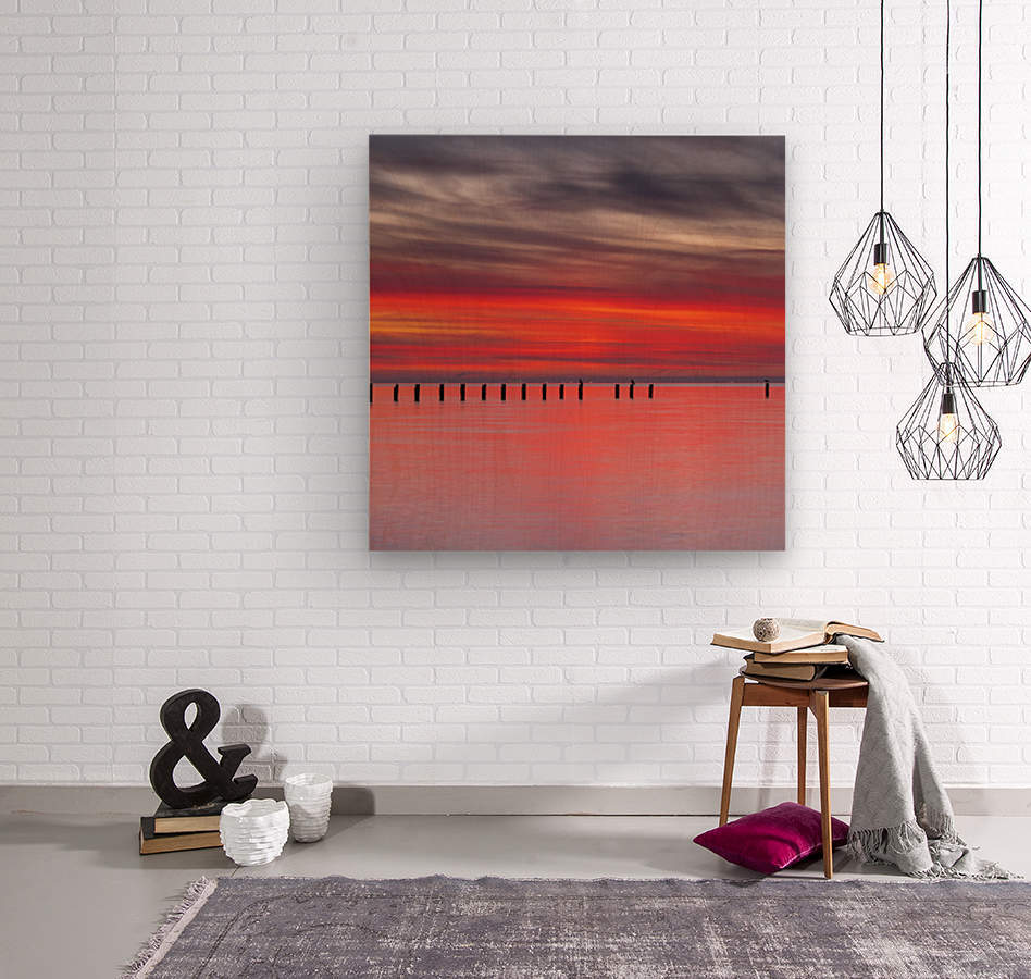 Pink Sunset over Water  Wood print