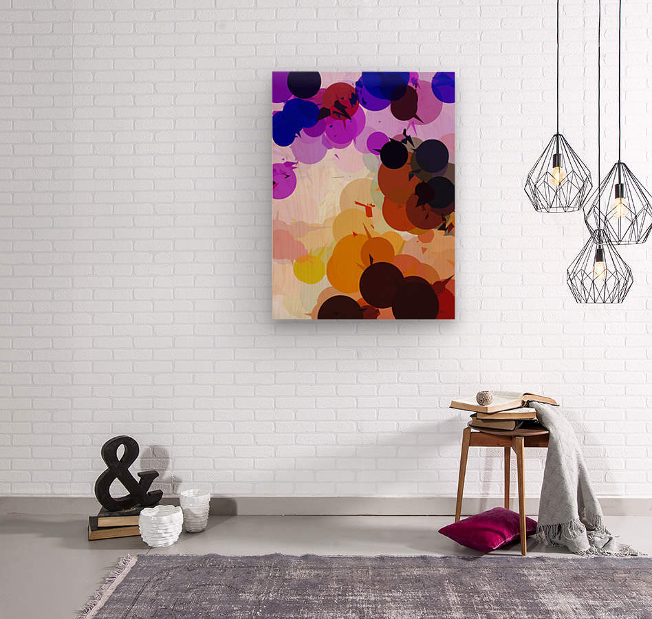 geometric circle and triangle pattern abstract in purple brown blue  Wood print