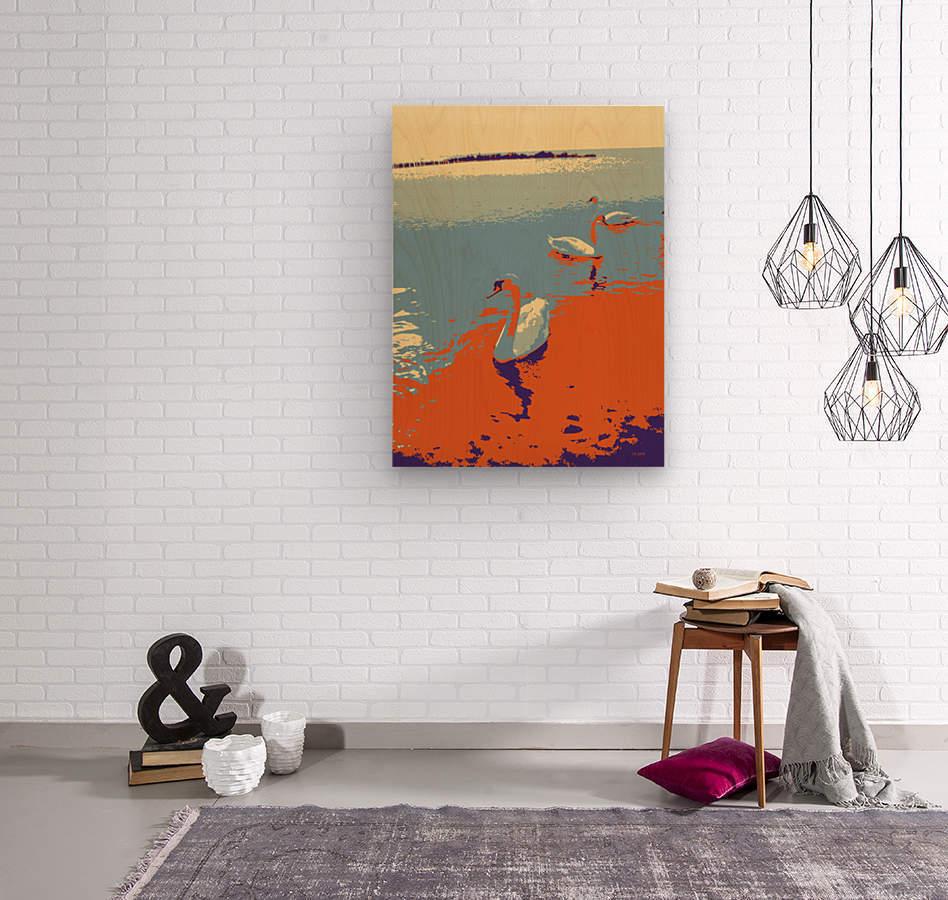 Swans  Wood print