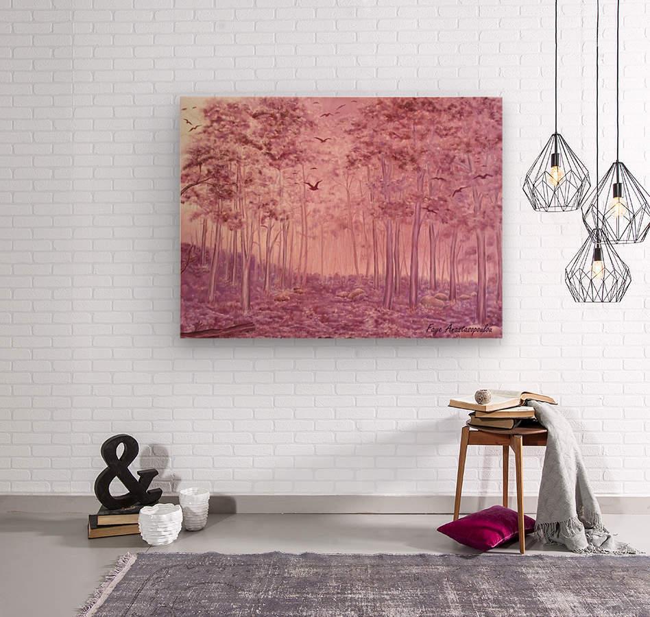 Pink Woods  Wood print