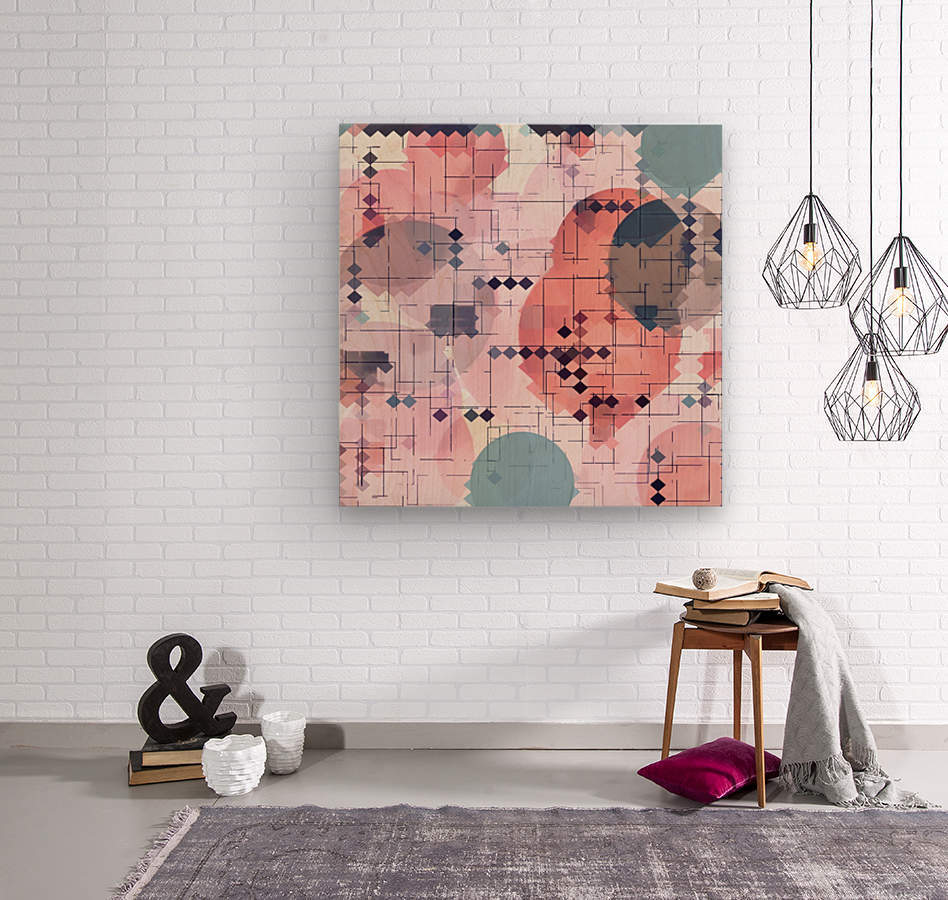 geometric square pixel pattern abstract with circle pattern background in red pink blue  Wood print