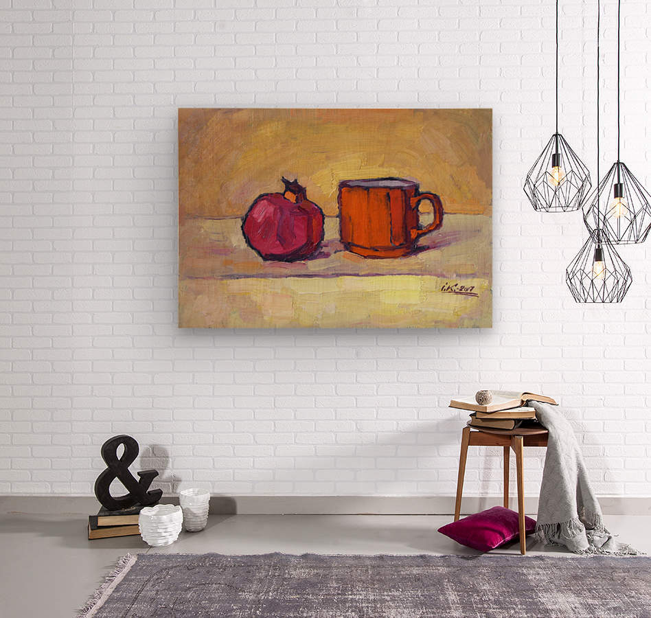 Pomegranate and Red Cup  Wood print