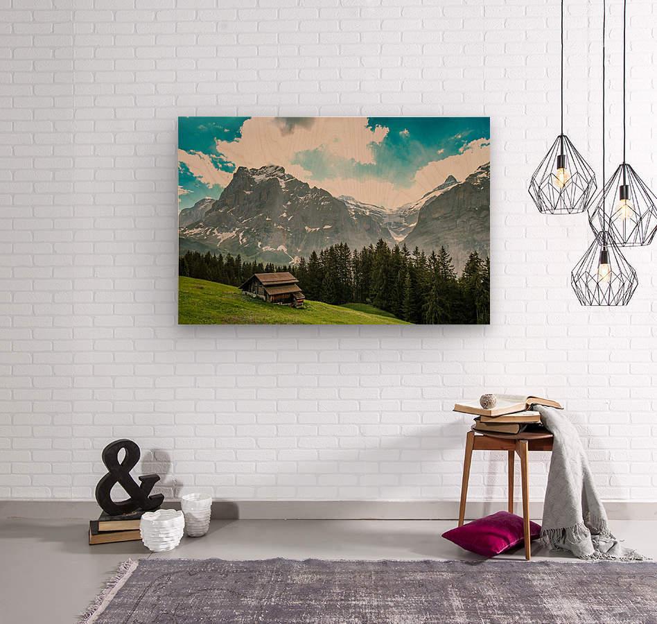 Hut on a hill  Wood print
