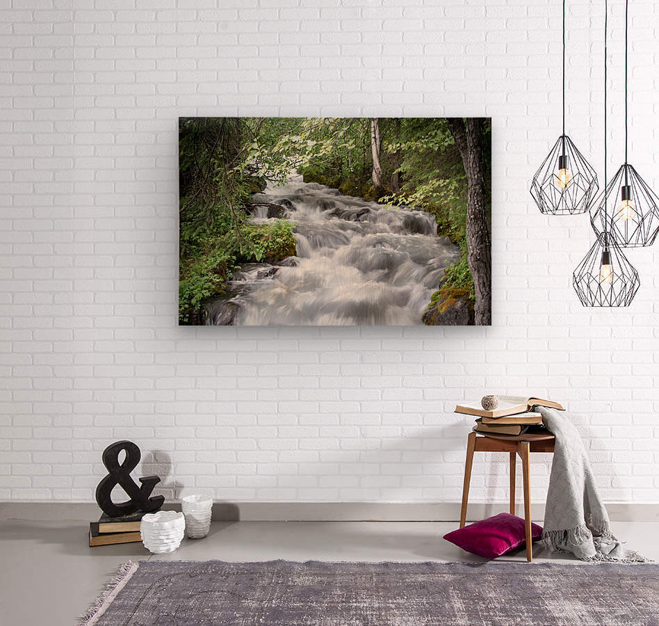 Beautiful Waterfall Photos - Alaska  Wood print