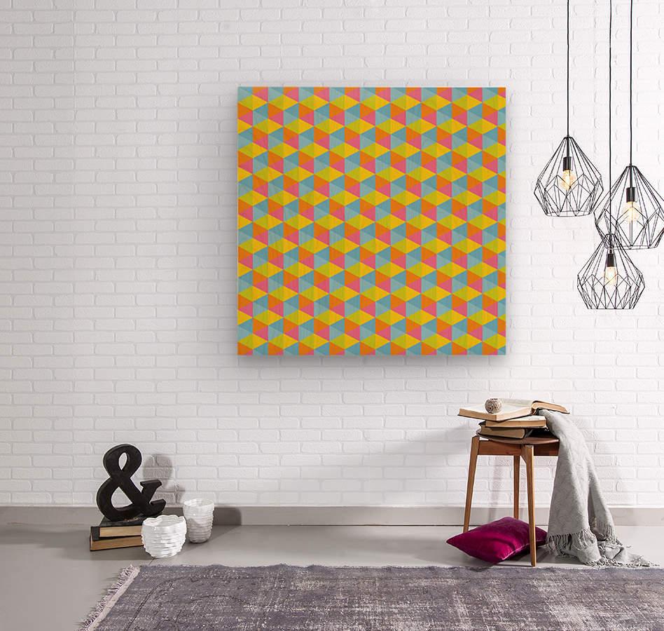 Hexagon Seamless Pattern Artwork  Wood print