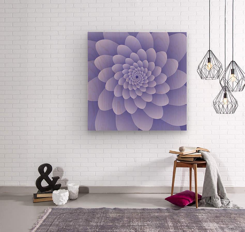 3D Modern Purple  Floral Art  Wood print