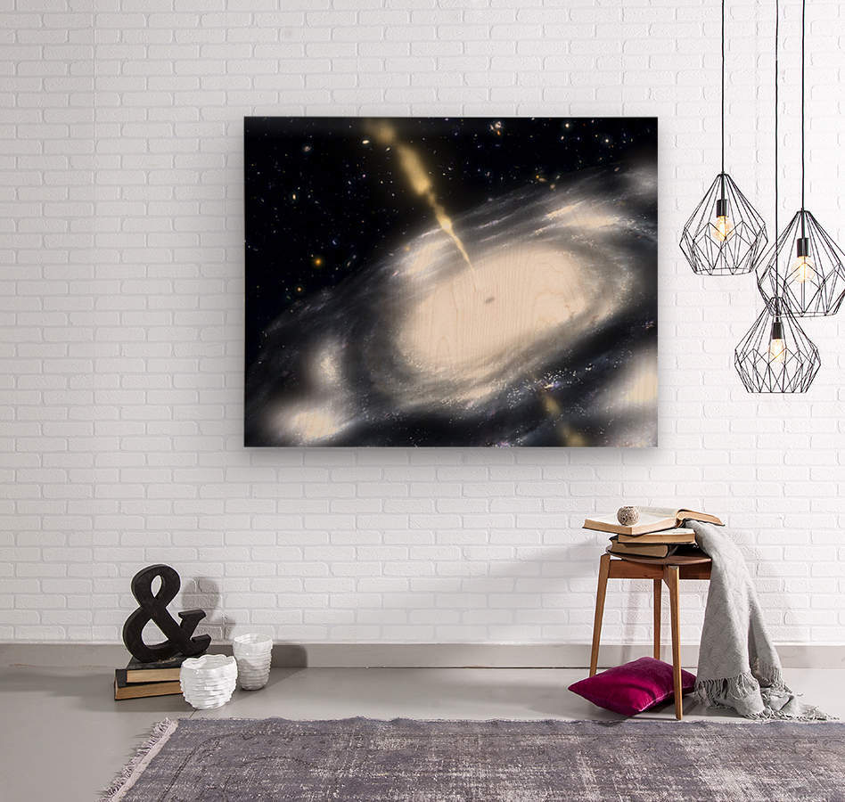 A rare galaxy that is extremely dusty and produces radio jets  Wood print