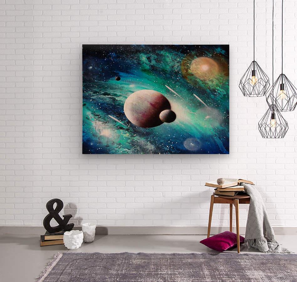 Blue maroon galaxy  Wood print