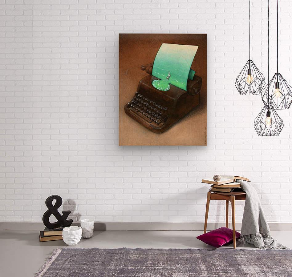typewriter  Impression sur bois