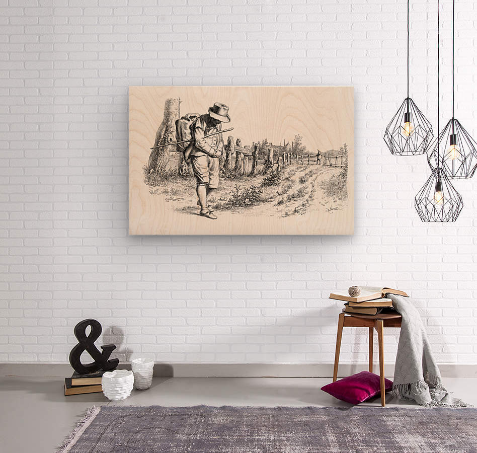 Traveler On A Country Road_OSG  Wood print