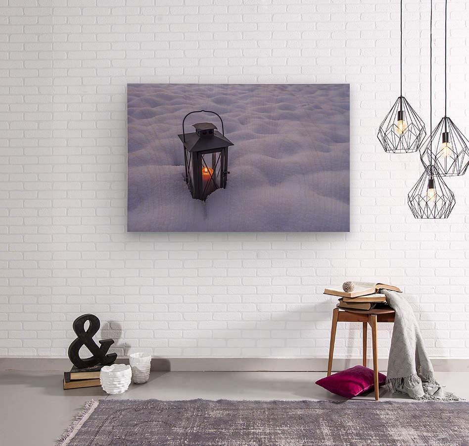 Lantern in the snow  Wood print