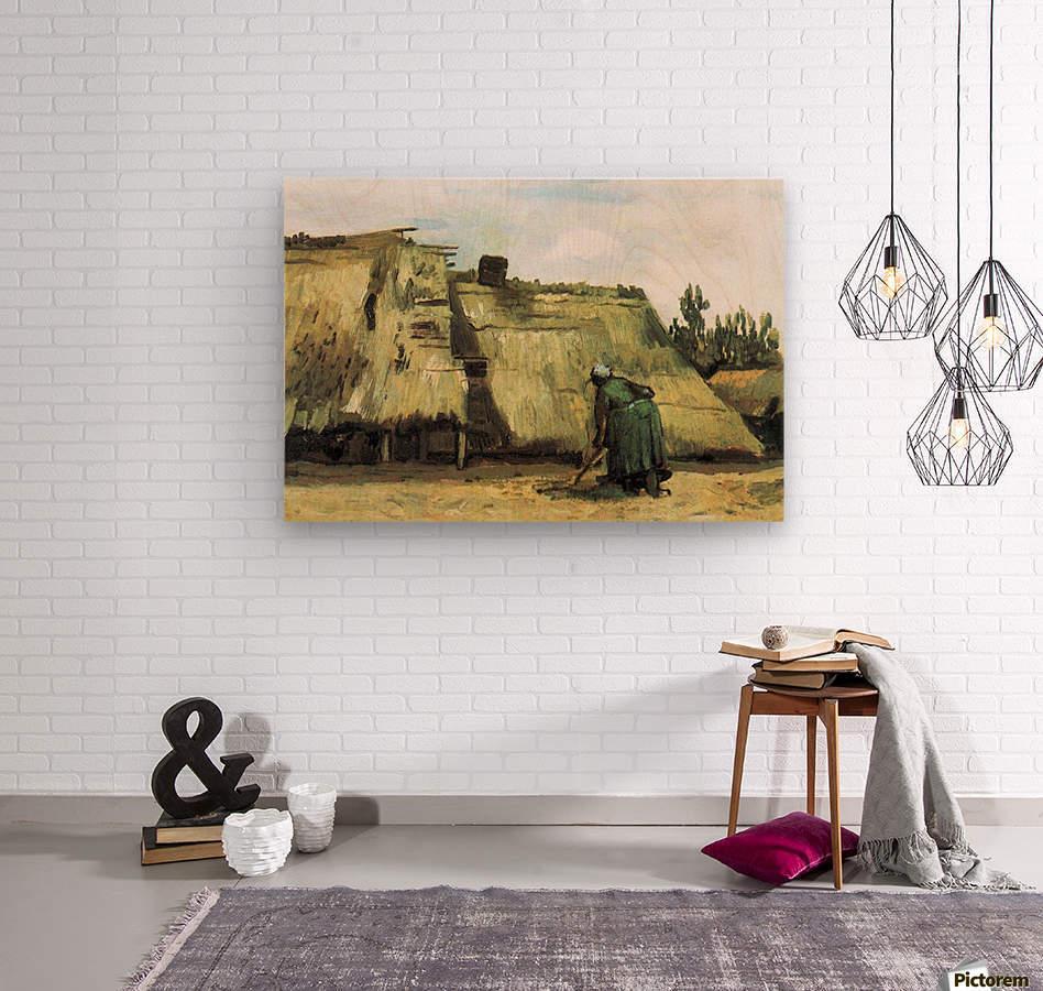 Farmhouse with farmer digging by Van Gogh  Wood print