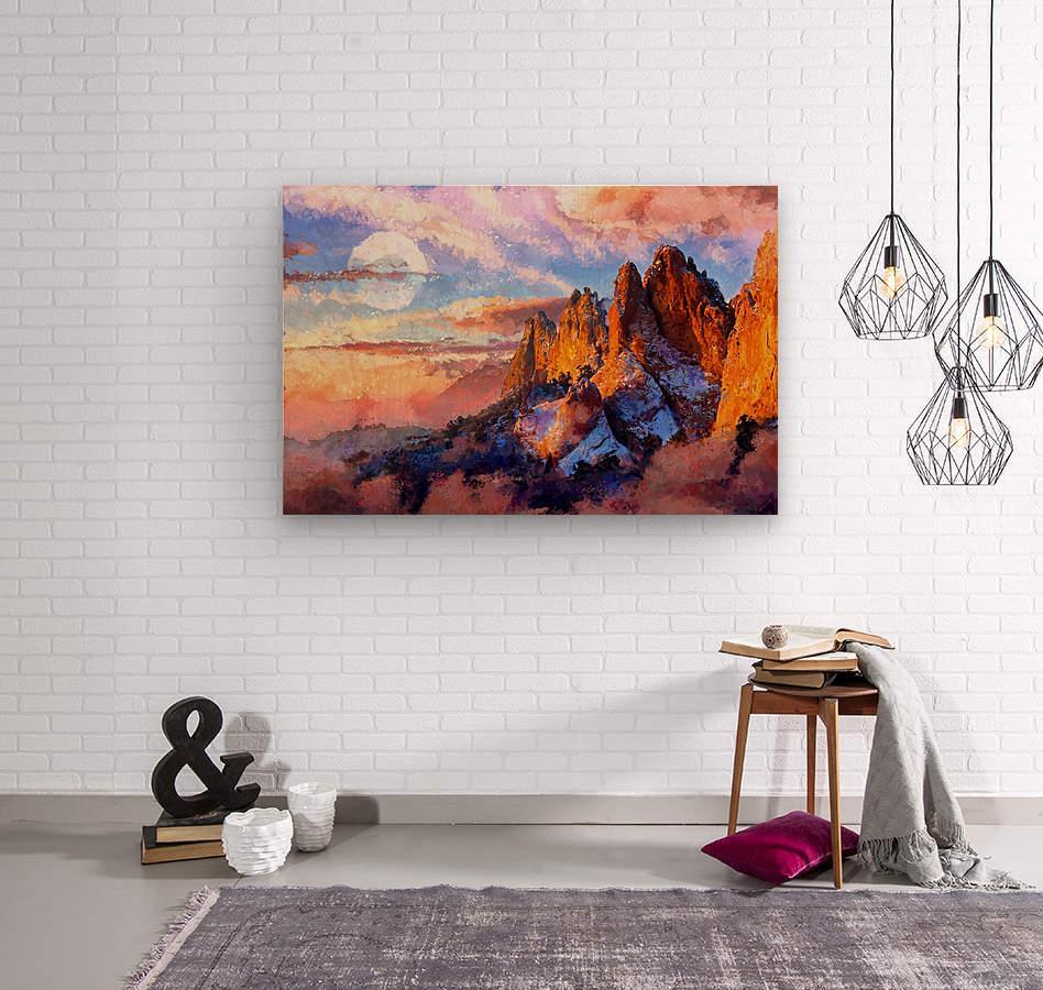 Colorado Mountains - Digital Painting III  Wood print